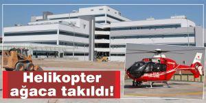 Helikopter ağaca takıldı!