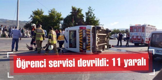 Öğrenci servisi devrildi: 11 yaralı